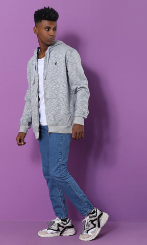 51547 Front Pockets Basic Hoodie - Heather Light Grey