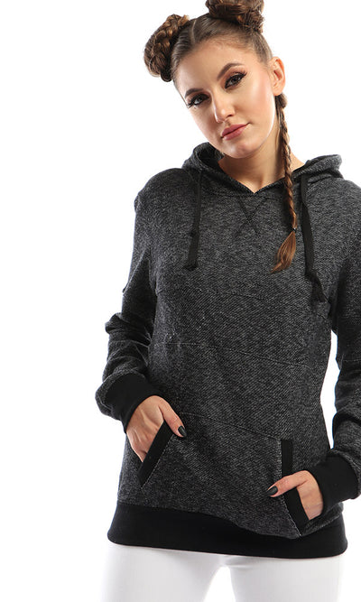 51574 Ribbed Hem Solid Sweatshirt With Cape - Heather Grey