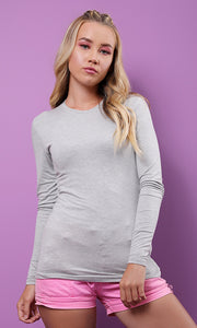 Basic Plain Tight Light Grey Top