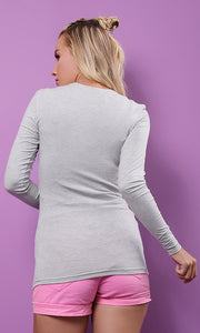 51583 Basic Plain Tight Light Grey Top