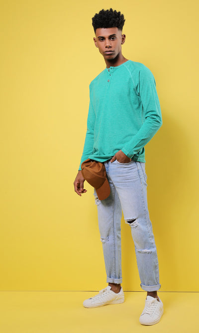 51586 Buttoned Neck Heather Green Basic Henley Shirt