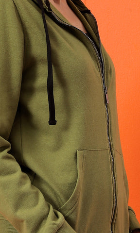 51589 Olive Hooded Zipped Solid Basic Sweatshirt