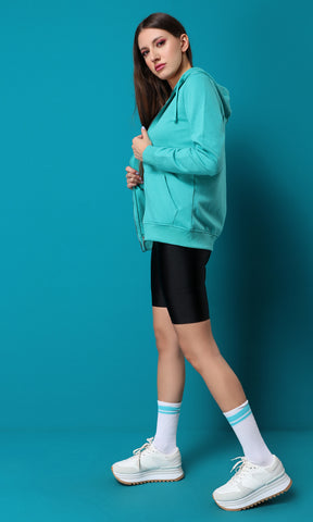 51591 Zipped Light Green Basic Sweatshirt With Cape