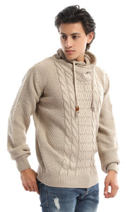 51592 Knit Roll Neck Beige Jumper
