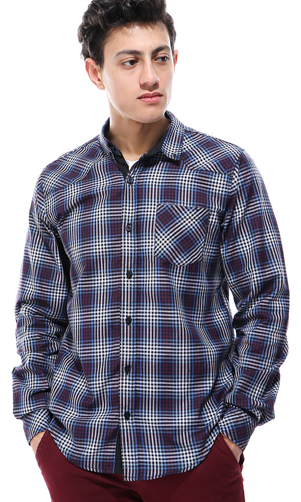 Long Sleeves Small Plaids Multicolour Shirt
