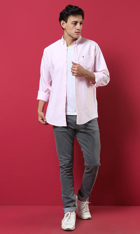 51608 Simple Elegant Light Pink Shirt With Breast Pocket