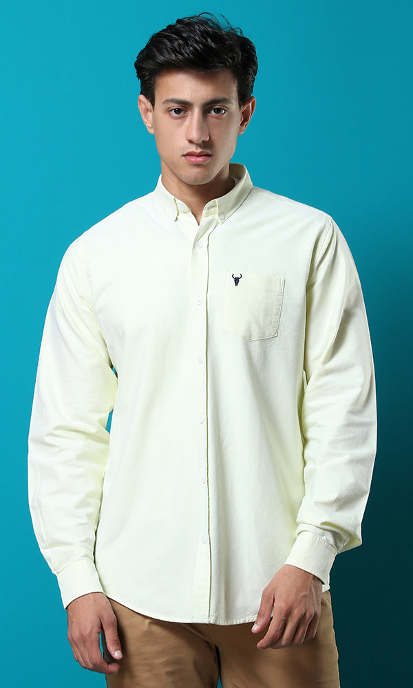 51609 Turned Down Buttoned Basic Lemon Green Shirt
