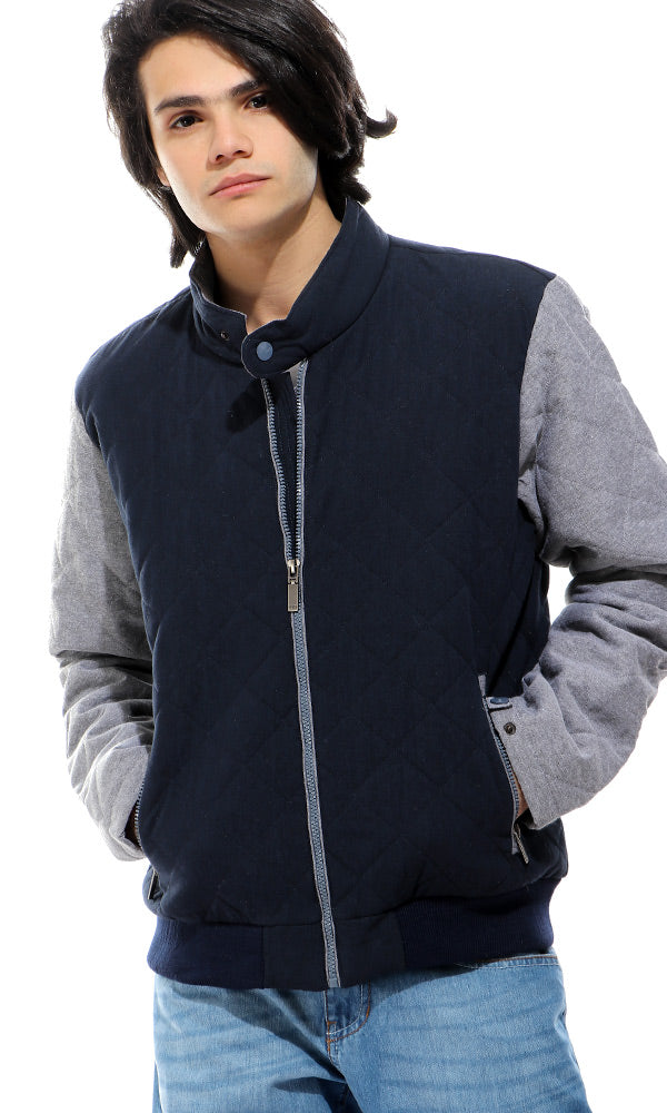 Bi-Tone Stitched Zipped Jacket - Navy Blue & Heather Grey