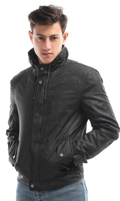 51614 Unique Snug Black Buttoned Regular Jacket