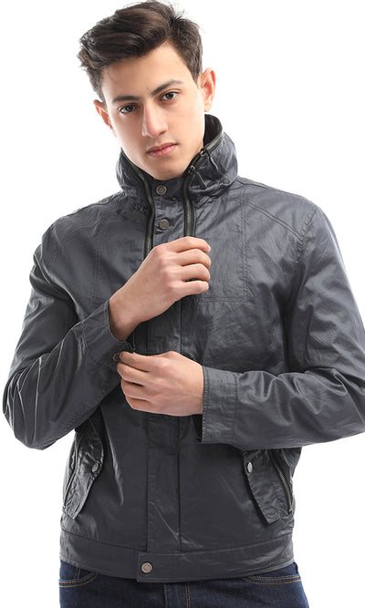 51615 Metal Buttoned Petrol Unique Jacket