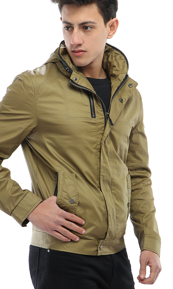 Casual Winter Zipped Jacket - Olive