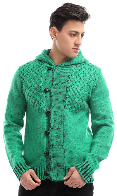 51618 Crochet Green Long Sleeves Hooded Cardigan