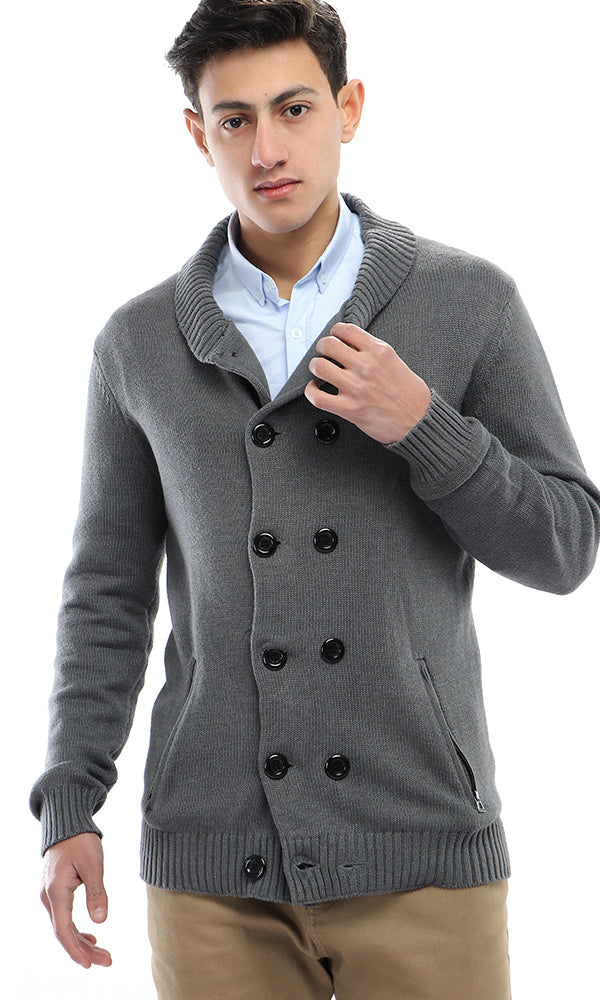 51621 Knitted Winter Pullover - Dark Grey