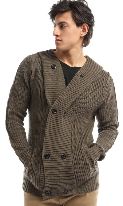 51622 Hooded Knit Buttoned Olive Green Cardigan
