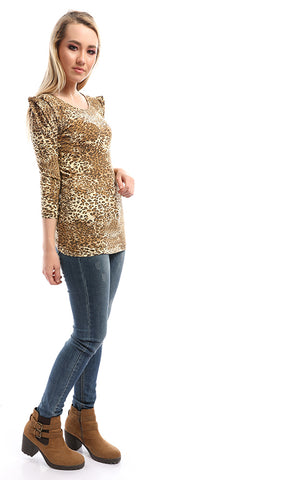 51631 Wid Being Leopard Print Puff Telader Top