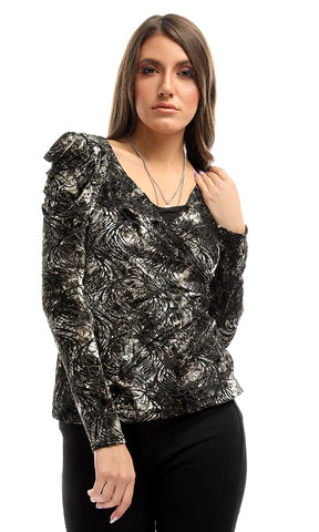 51632 Drape Velvet Patterned Unique Blouse - Black & Gold