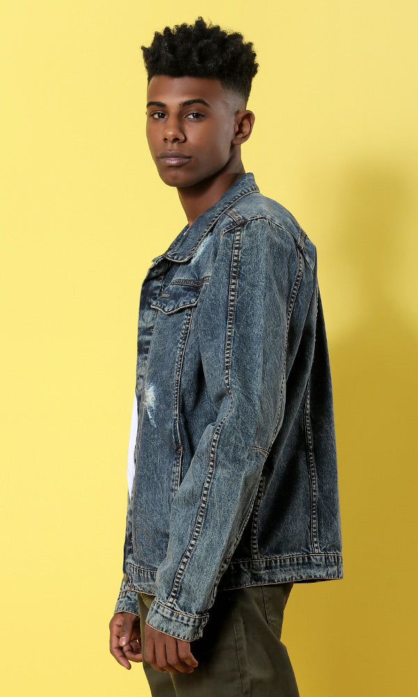 Cutted Denim Jacket -- Dark Denim