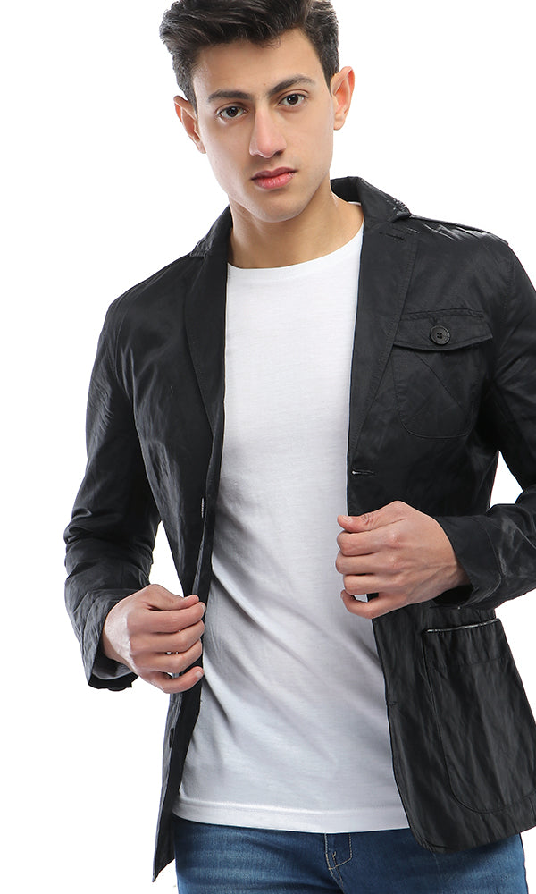 Cotton Button Closure Jacket - Black