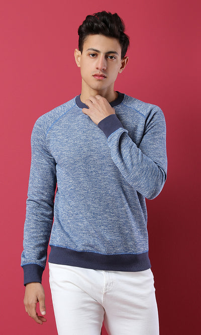 51650 Heather Basic Sweatshirt With Hem - Navy Blue