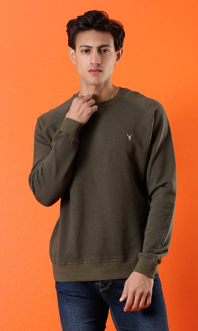 51651 Basic Solid Embroidered Logo Slip On Olive Sweatshirt