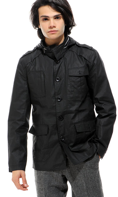 51657 Front Pockets Black Waterproof Jacket