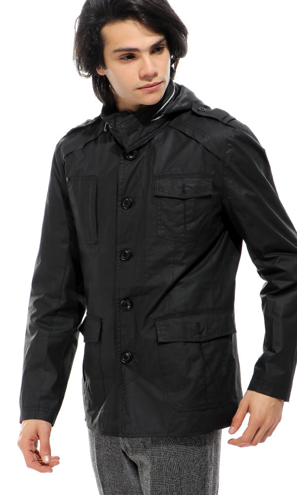Front Pockets Black Waterproof Jacket