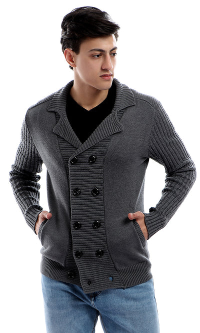 Turn Down Collar Knitted Long Sleeves Buttoned Greenish Grey Sweater