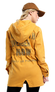 51659 Hooded Neck Elastic Waist Buttoned Long Jacket - Mustard