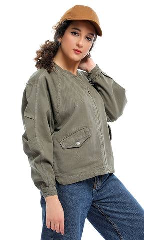 Random Scratched Zipped Olive Casual Jacket