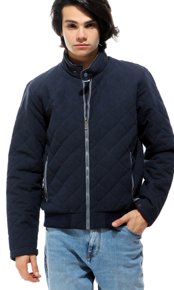 Buttoned High Neck Winter Jacket - Navy Blue