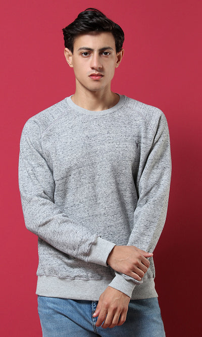 51666 Sportive Round Collar Sweatshirt - Light Heather Grey
