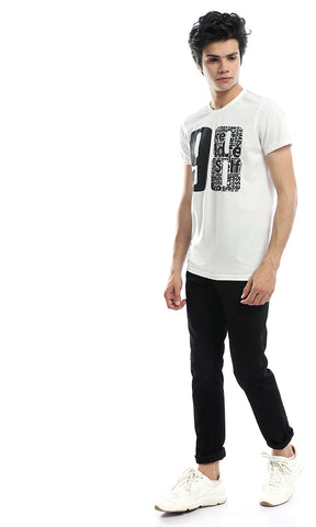 53003 Off White With A Graphic Print Casual T-Shirt