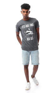 "53046 ""It's Dive Time"" Printed Heather Dark Grey T-shirt"