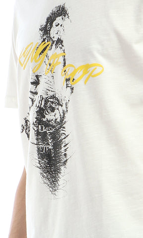 53051 Printed  King Of Pop  Fashionable Off-White T-shirt