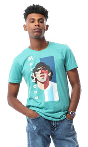 "53055 ""Maradona"" Character New Print T-shirt - Heather Dark Mint"
