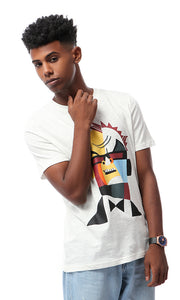 53057 Printed Colorful Man Face Off-White T-shirt