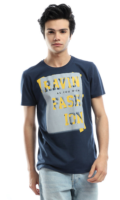 53088 Navy Blue With Grey Print T-Shirt