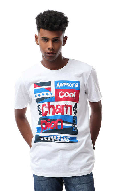 "53093 White Printed Short Sleeves ""Awesome"" T-shirt"