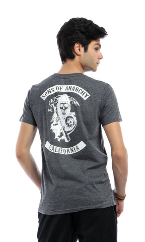 53095 Sons Of Anarchy-Casual Slip On Heather Black T-shirt
