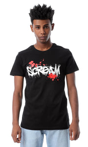 "53097 Black ""Scream"" Round Neck T-shirt"