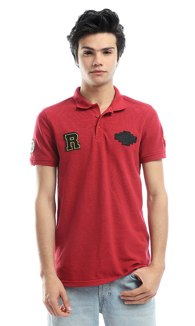 53122 Stitched Patches Dark Red Polo Shirt