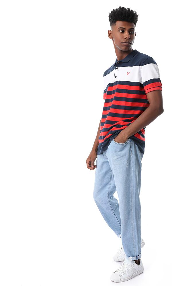 53127 Red Turn Down Fashionable Polo Shirt - Ravin