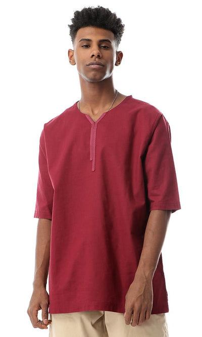 53137 Maroon Solid New Trendy Shirt - Ravin
