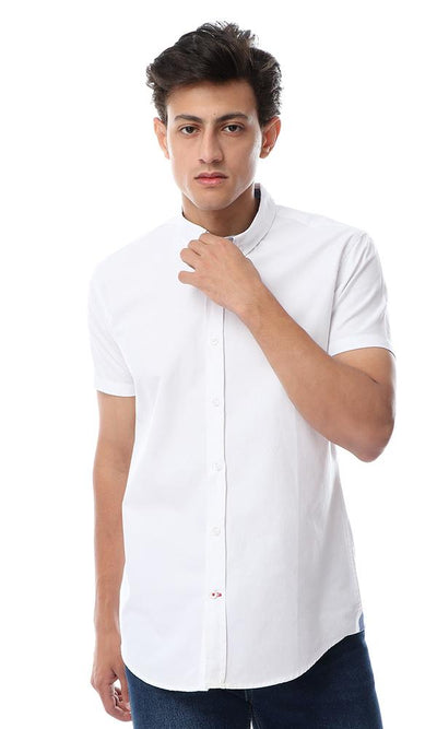 Solid Half Sleeves Turn Down Collar Shirt White