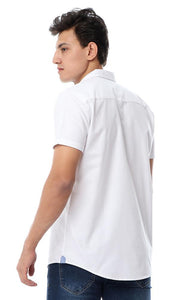 53151 Solid Half Sleeves Turn Down Collar Shirt White - Ravin