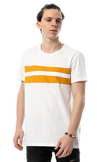 53178 Double Stripe Orange & White Tee