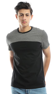 53183 Striped Sleeves Casual T-Shirt - Black