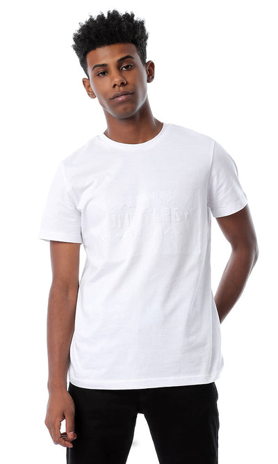 "53184 Front Pique ""Untitled"" Slip On White T-shirt"