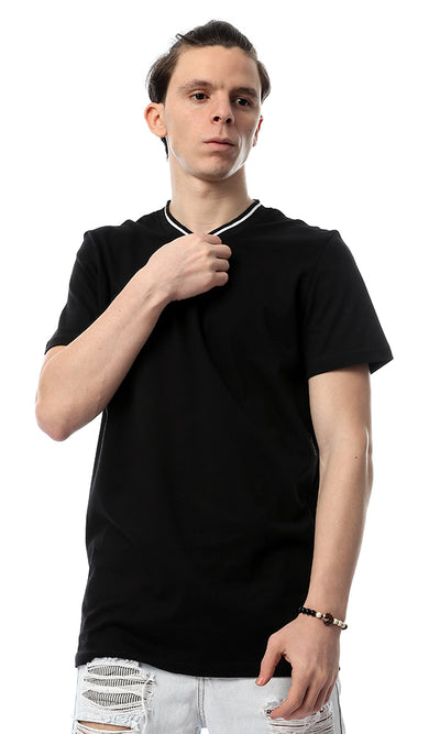 53188 Black Cotton Round Collar T-Shirt