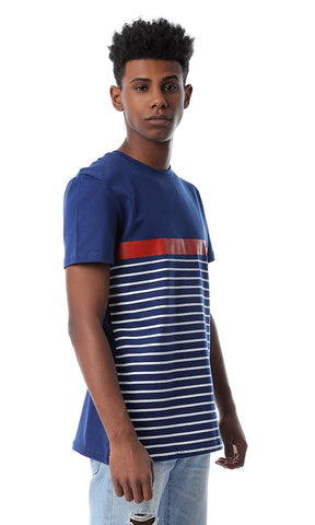 53191 Round Neck Dark Blue Striped T-shirt